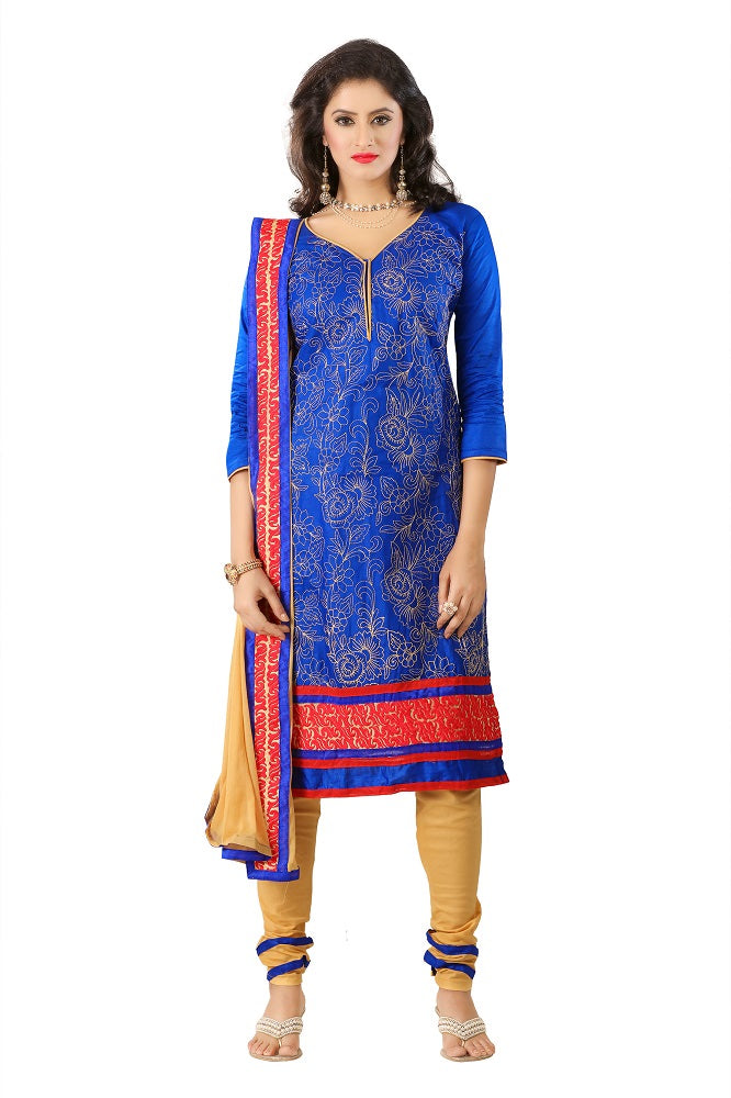 Women's Women's Cotton Embroidered Dress Material (MDMHK10 Blue)