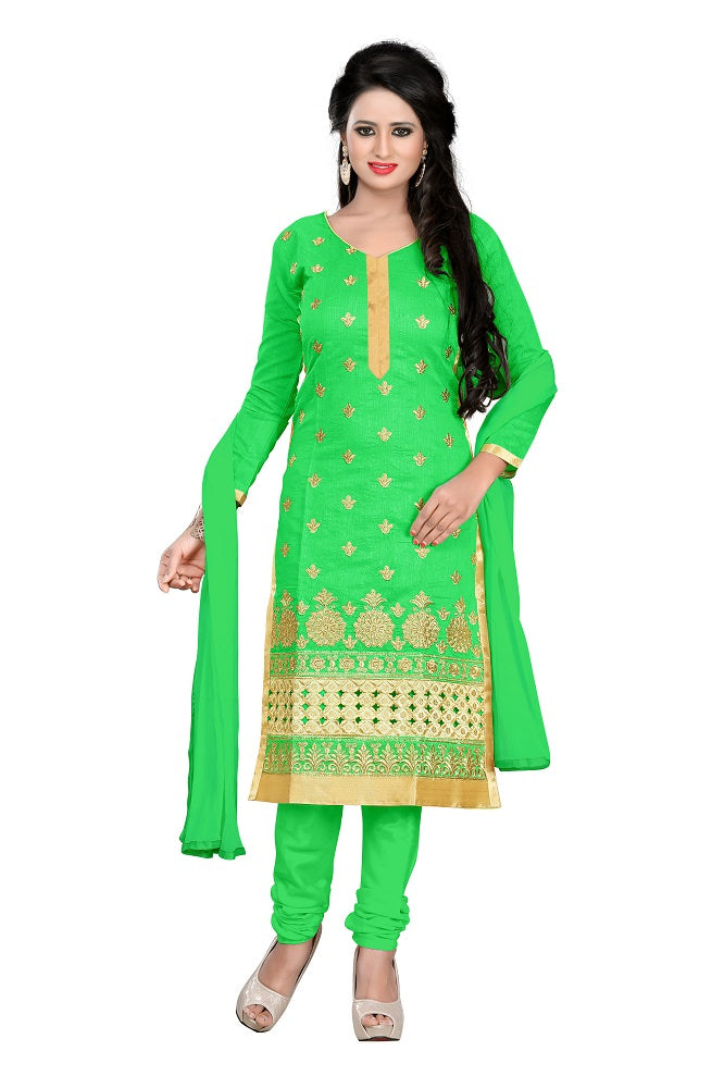 Light Green Chanderi Embroidered Unstitched Dress Material