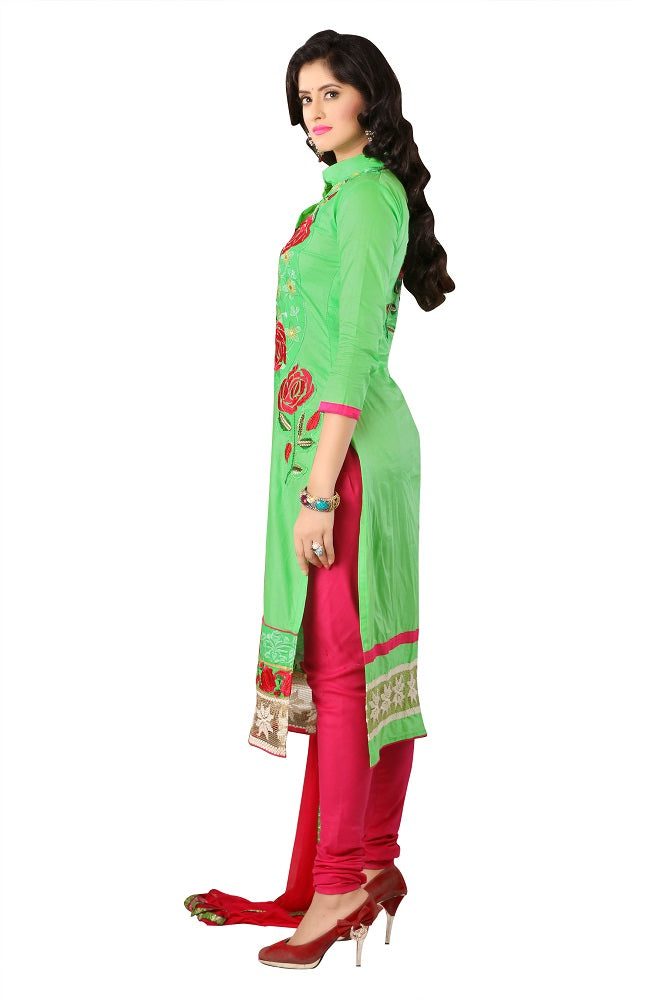 Light Green Cotton Embroidered Straight Suit Dress Material