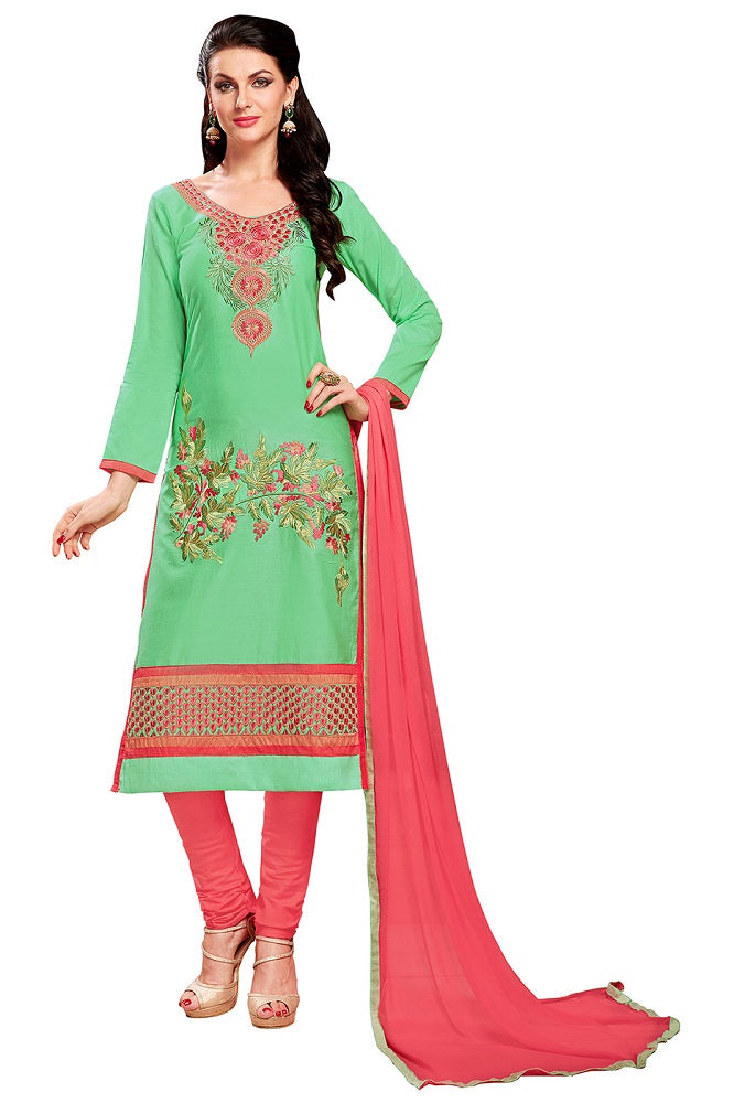 Green Glaze Cotton Embroidered Party Wear Dress Material