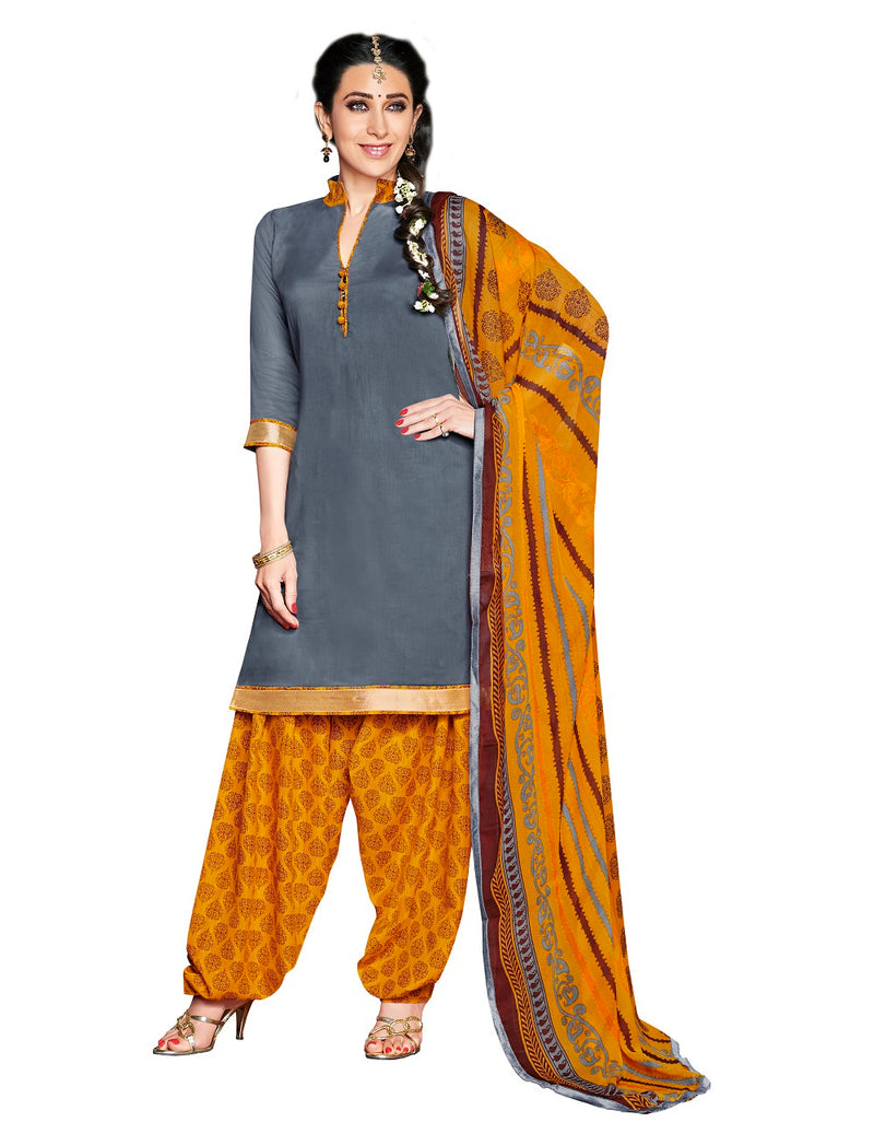 Womens Designer Grey Glaze Cotton Partywear Salwar Suit Dress Material For Womens