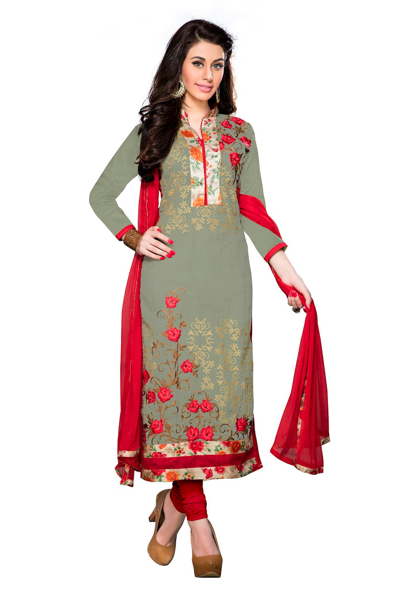 Mehendi Green Cotton Embroidered Straight Suit Material