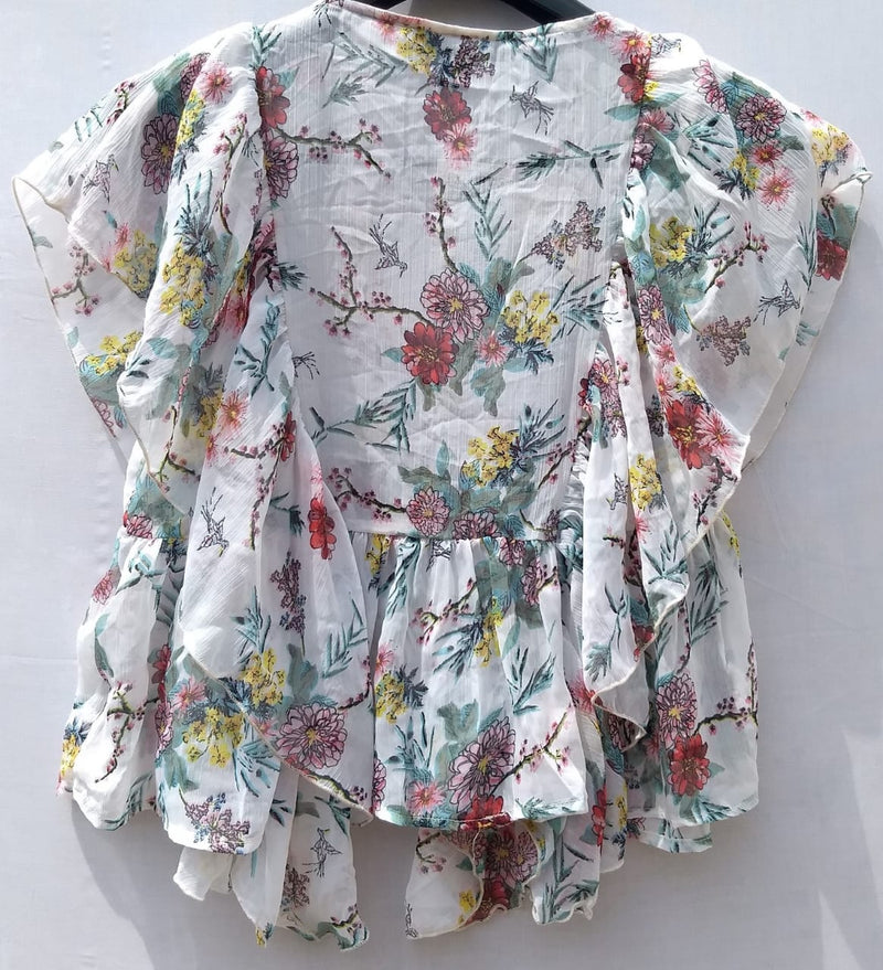Girls Top Shrug White Base With Pink & Red Flowers & Yellow Leafs - RMFT000100001WPFYL