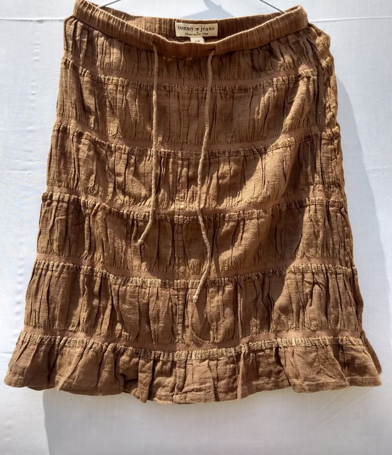 Skirt Fish Tail Brown Colour With Vertical Wrinkle Fabric - RMFS000100001BWT