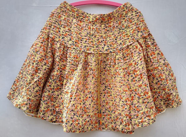Women Yellow Base With Blue And Orange Cherries Skirt - RMFS005100002SWRYC1