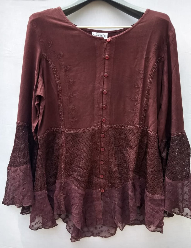Women Top Mehroon Colour With Net & Kadai Work - RMFT005100001MTNK