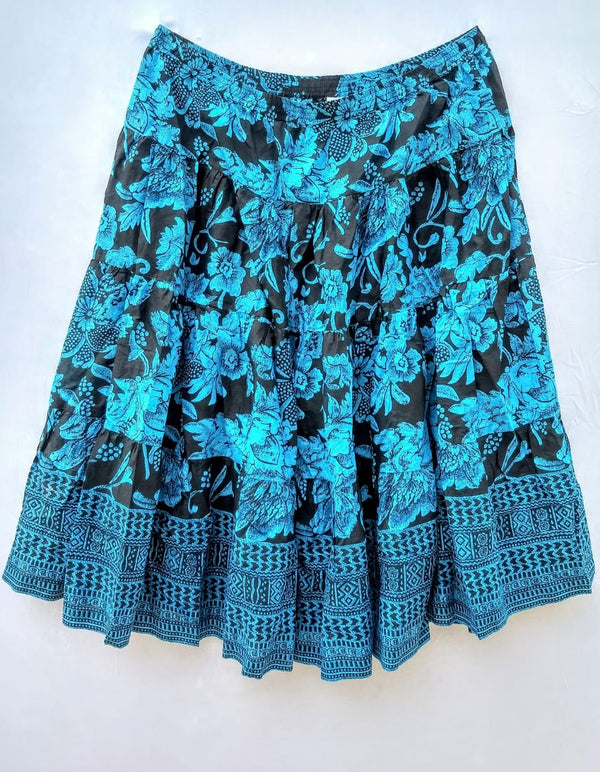 Women Skirt Black Colour With Blue Flower & Leafs - RMFS000100001BBLS