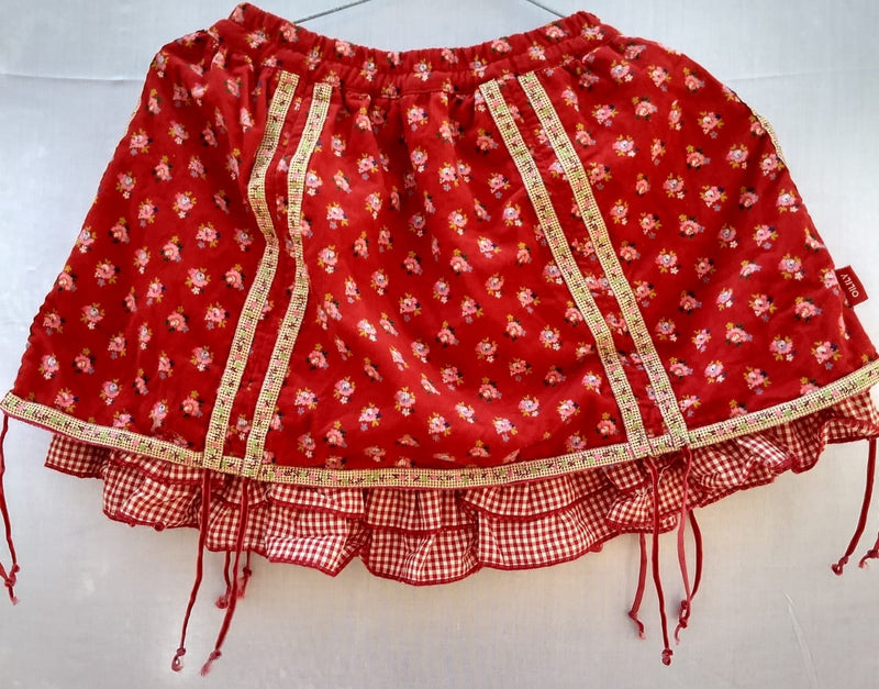 Kids Skirt (12 to 18 Months) Red Colour With Pink & Green Flowers - RMKS000100001SRPG