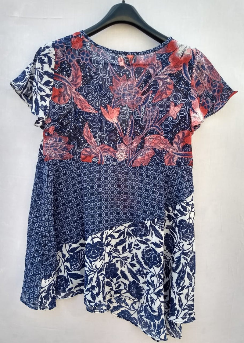 Women Imported Top Shrug Blue Leafs Red Flowers Dotted Print - RMFT000100001SBLRF