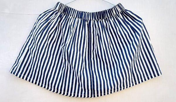 Kid's Skirt White and Blue Stripe - RMKS005000001SWBS