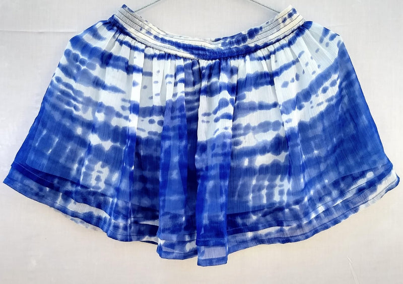 For 2 to 3 Years old girl's Skirt White & Blue Tie-Die Print- RMKS005000001SWBP