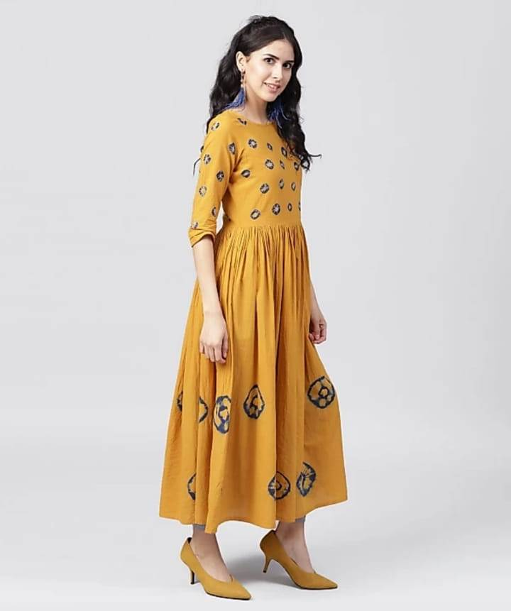 Yellow Kurti With Blue Square Work - NT000022NYELLOW