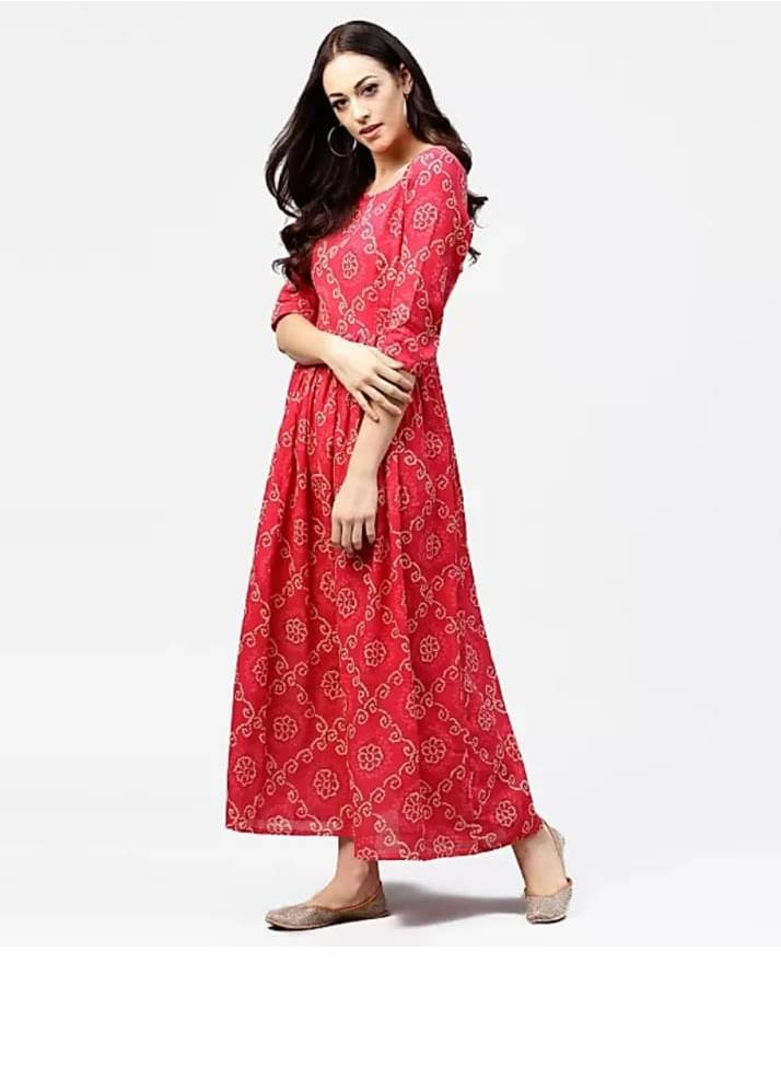 Red Kurti With White Dots - NT000022NRED