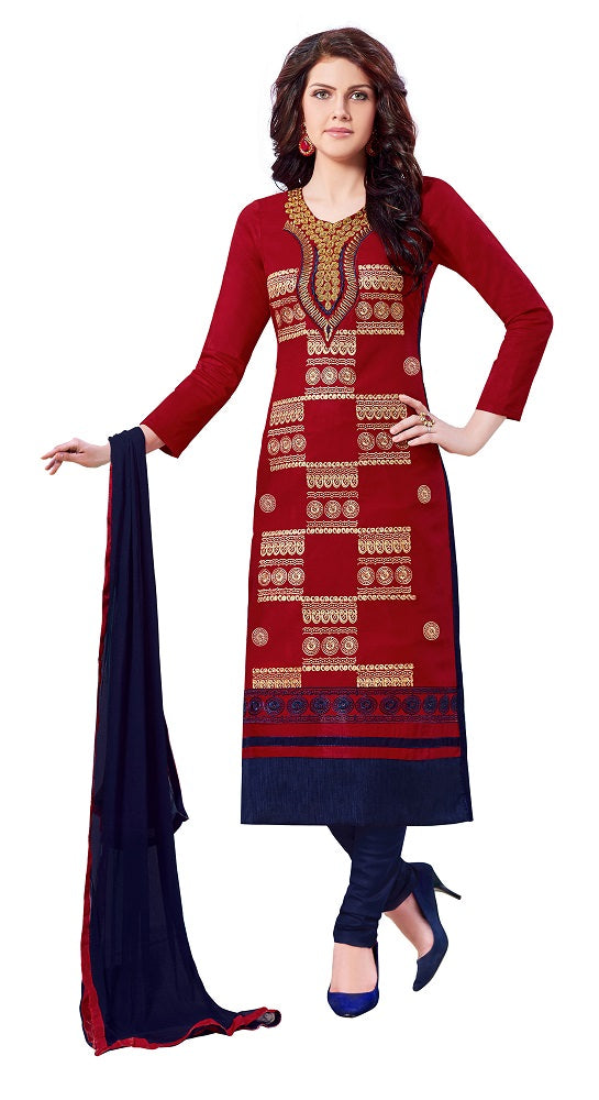 Red Cotton Embroidered Party Wear Salwar Suit Material