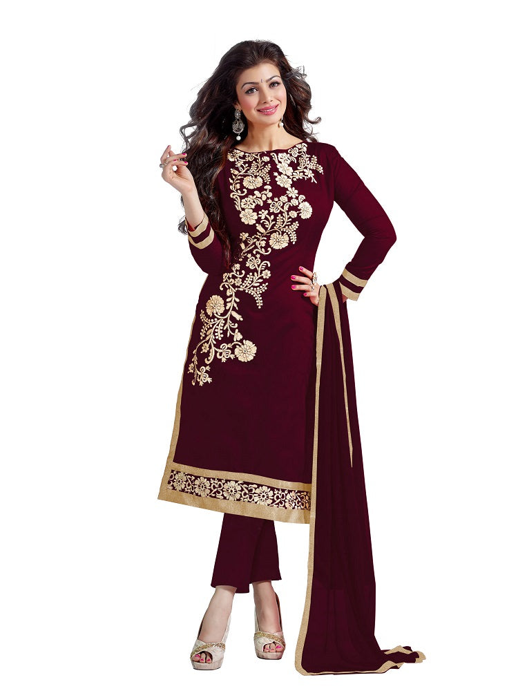 Women's embroidered chanderi dress Material