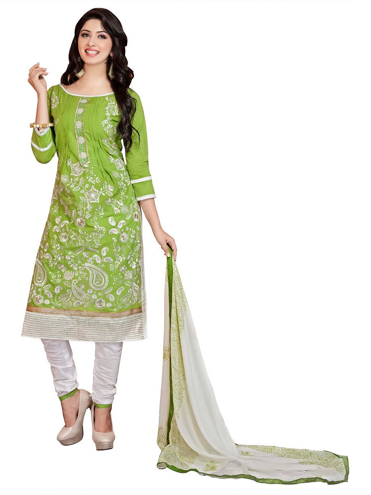 Women's Green Cotton Party wear Embroidered Dress Material (Unstitched Salwar Suit_MDMST12_Green_Freesize)