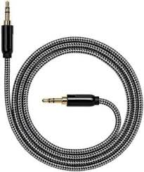 3.5 MM Male Black Aux Music | Audio Cable Connector 1.5 MTR | Gold plated connectors | Cloth over wrapped for high durability