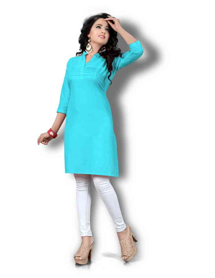 Women's Skyblue Solid Thigh Length Kurta