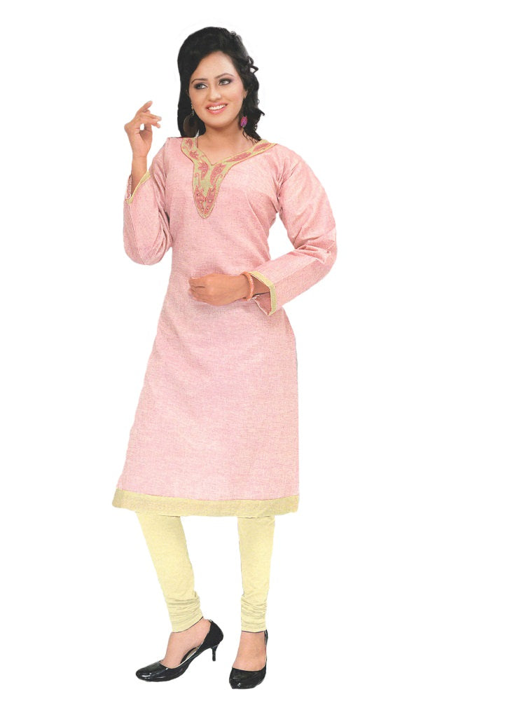 Pink Designer Embroidered Neck Women's  Kurta