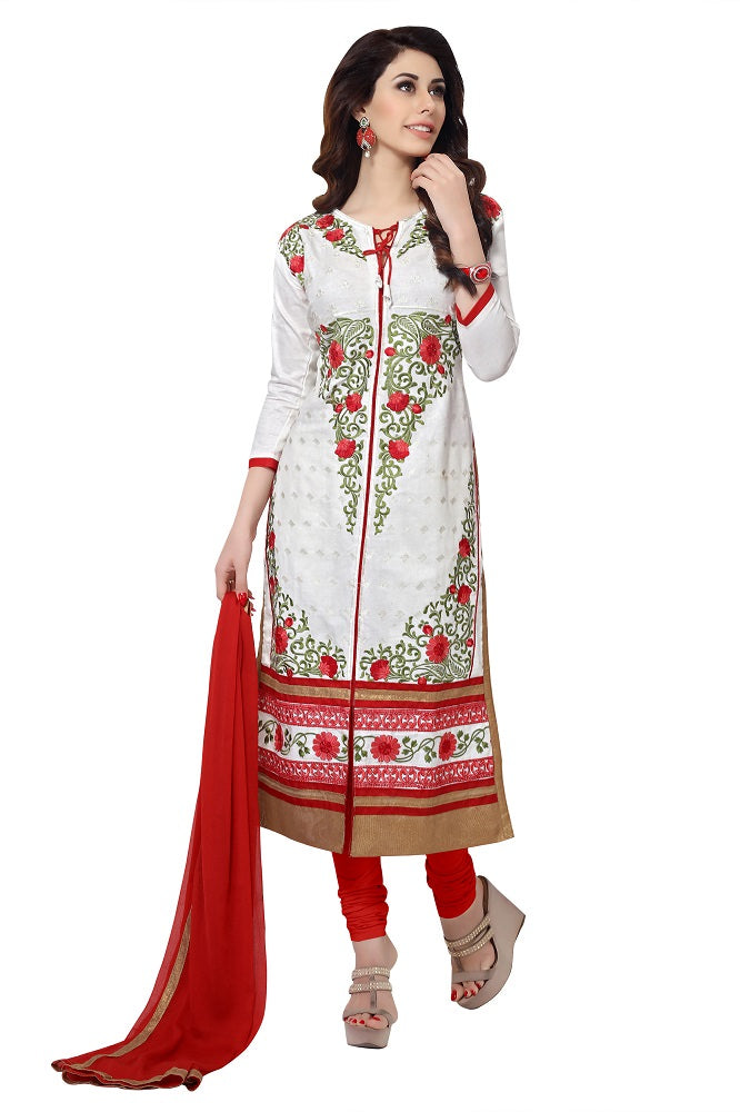 Women's Women's Cotton Embroidered Dress Material (MDSBA401 White)