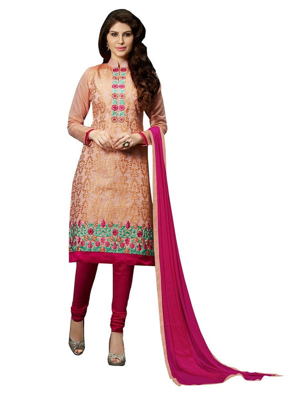Beige Embroidered Chanderi Salwar Suit Dress Material