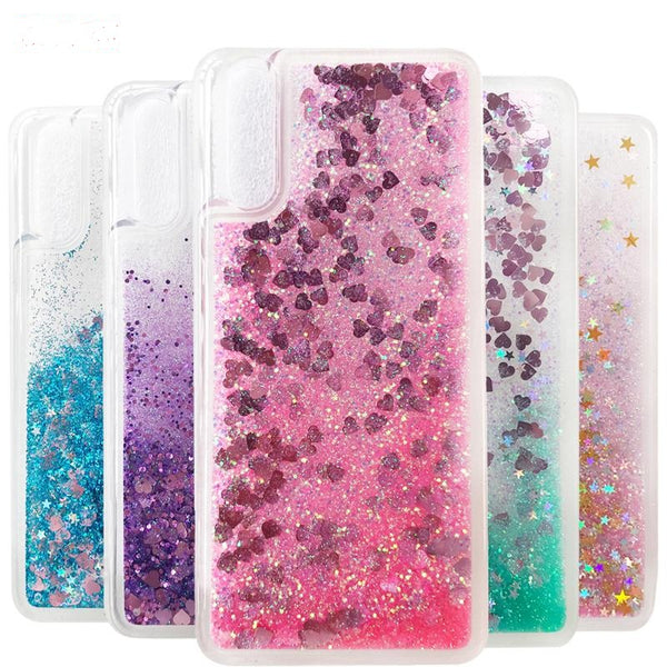 Flowing Liquid Glitter Floating Sparkle Stars Back Cover for Samsung Galaxy A40 - Red/pink/Purple/Golden/Blue - AHLG000500010LGA40C