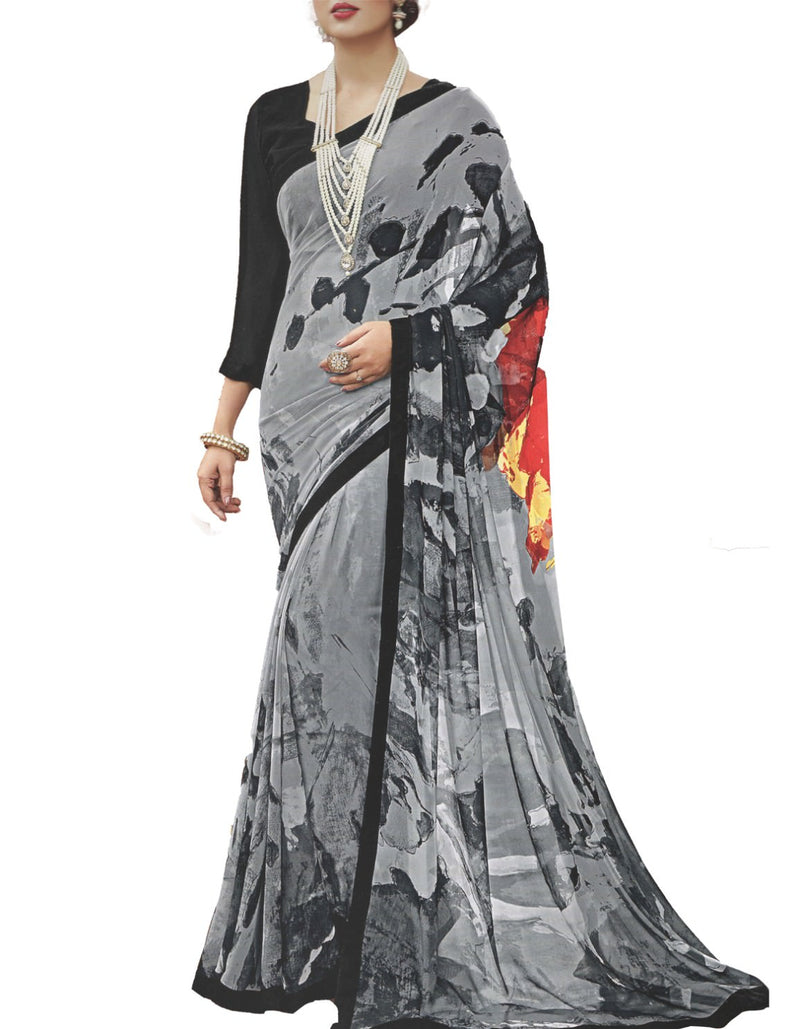 Georgette Digital Printed Saree With Blouse-Grey Color Saree