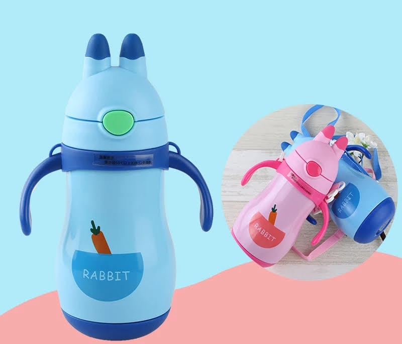 Hot and Cold Kids water bottle for school | Yellowish Green | Vacuum | Stainless Steel | Student Baby Girl Boy Sipper flask bottle