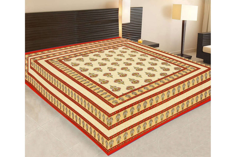 Jaipuri Sanganeri Cotton Printed Double King Size Bedsheet