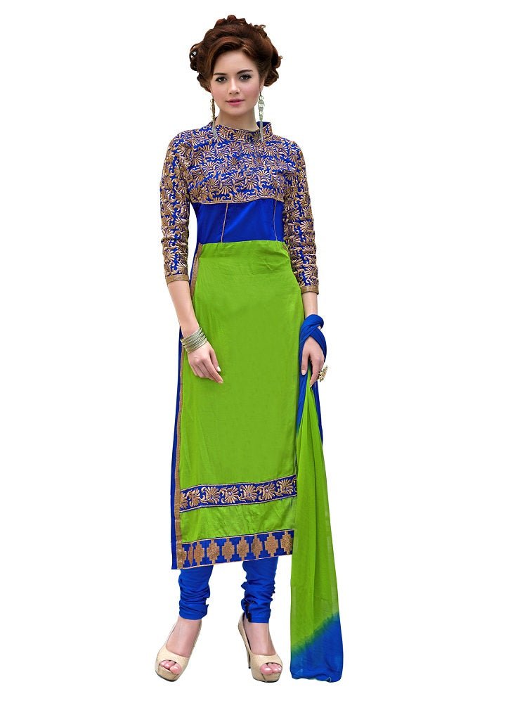 Womens Designer Green & Blue Glaze Cotton Partywear Salwar Suit Dress Material For Womens