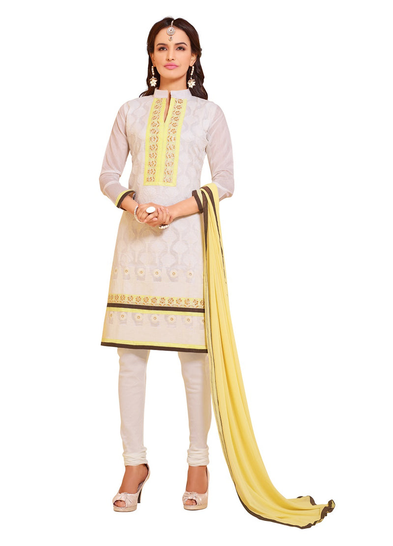 Women's Off White Bhagalpuri Salwar Suit Material With Embroidery