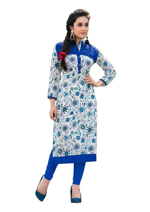 Blue Cotton Printed Chinese Collar Long Kurti