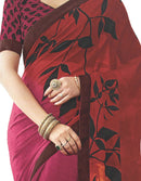 Georgette Digital Printed Saree With Blouse-Dark Pink, Multi Color Saree