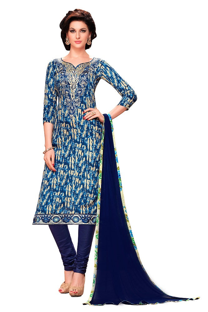 Blue Glaze Cotton Embroidered Party Wear Dress Material