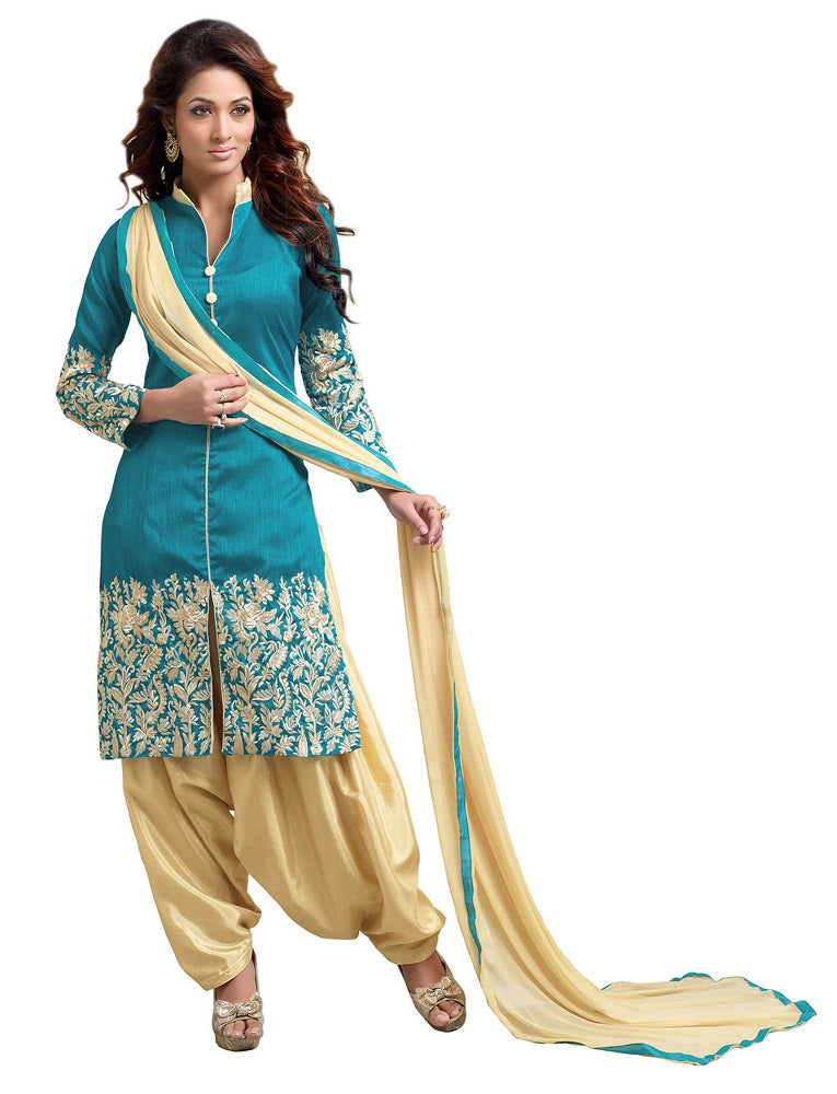 Women's Teal Green Bhagalpuri Salwar Suit Material With Embroidery