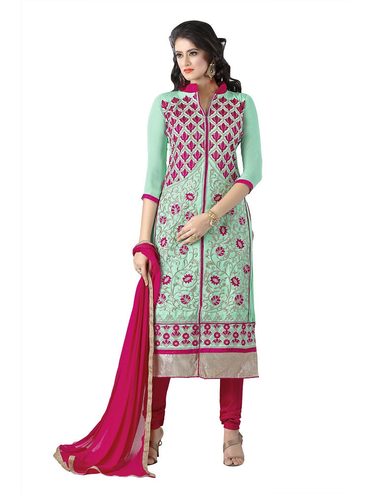 Women's Women's Georgette Embroidered Dress Material (MDKYR02 Light Green)