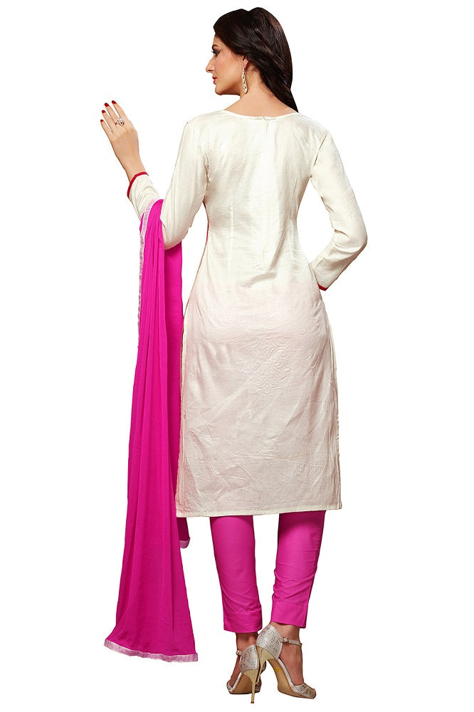 Pink & White Glaze Cotton Embroidered Party Wear Dress Material