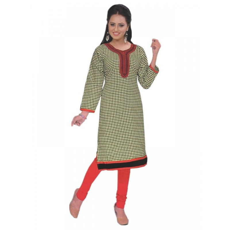 Black & Red Printed Round Embroidered Neck Women?s  Kurta