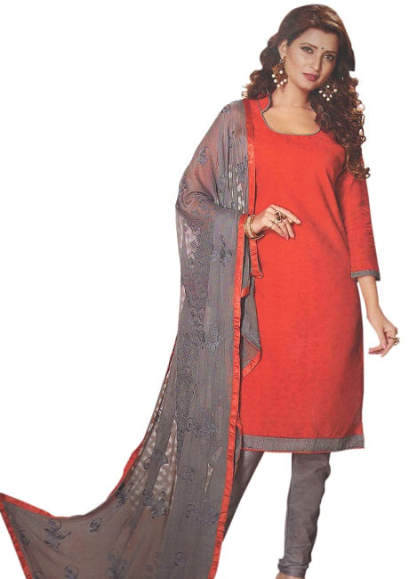 Women's Salwar Suit Unstitched Dress Material _Red