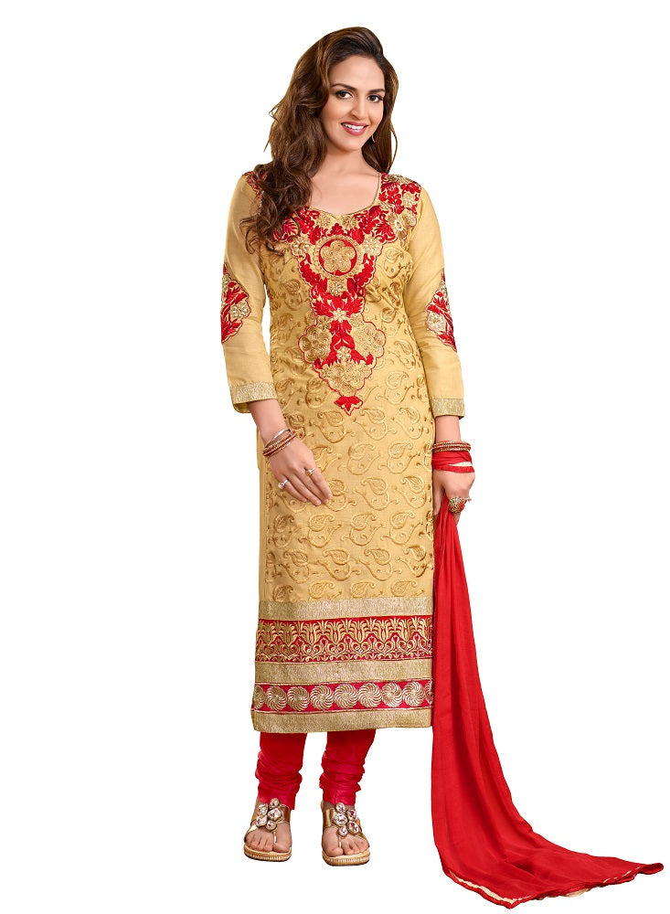 Beige cotton embroidered salwar suit dress material