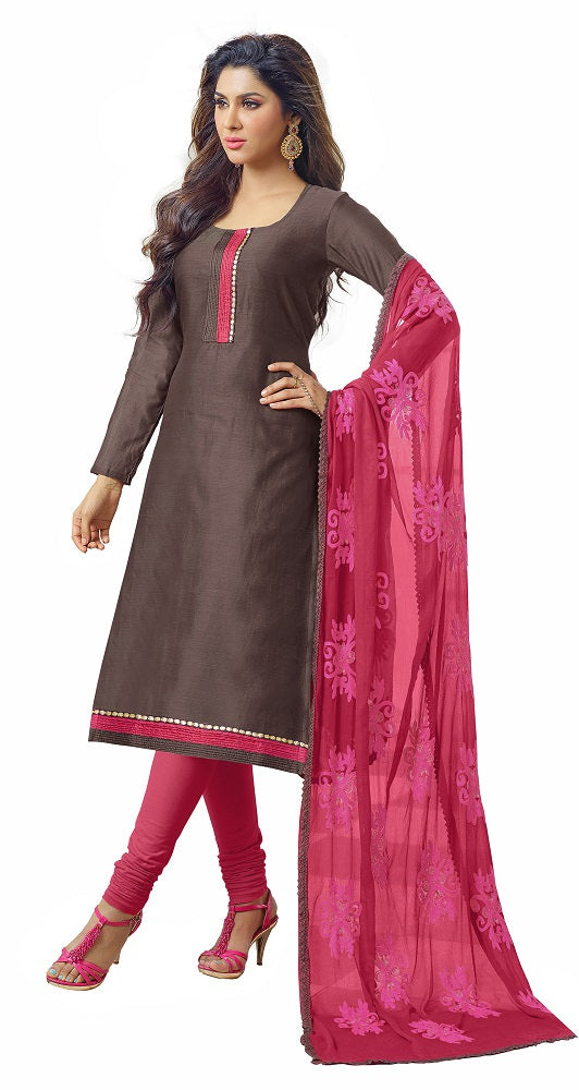 Women's Brown Chanderi Unstitched Dress Material
