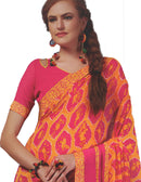 Georgette Digital Printed Saree With Blouse Dark Pink with Orange Color Saree