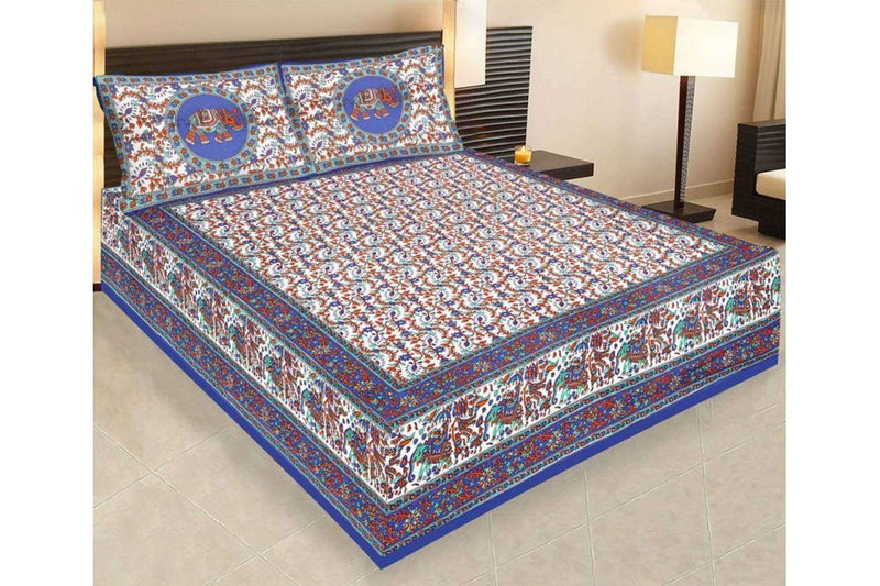 Jaipuri Sanganeri Cotton Printed Double Bedsheet With Two Matching Pillow Covers