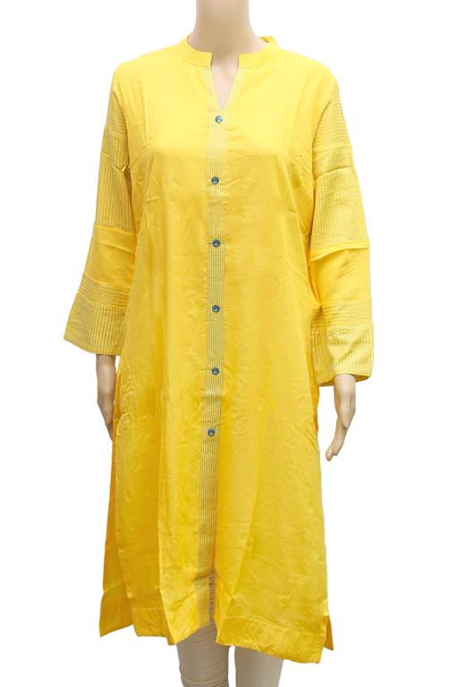 Women's Solid Yellow Front Buttoned Formal Kurti