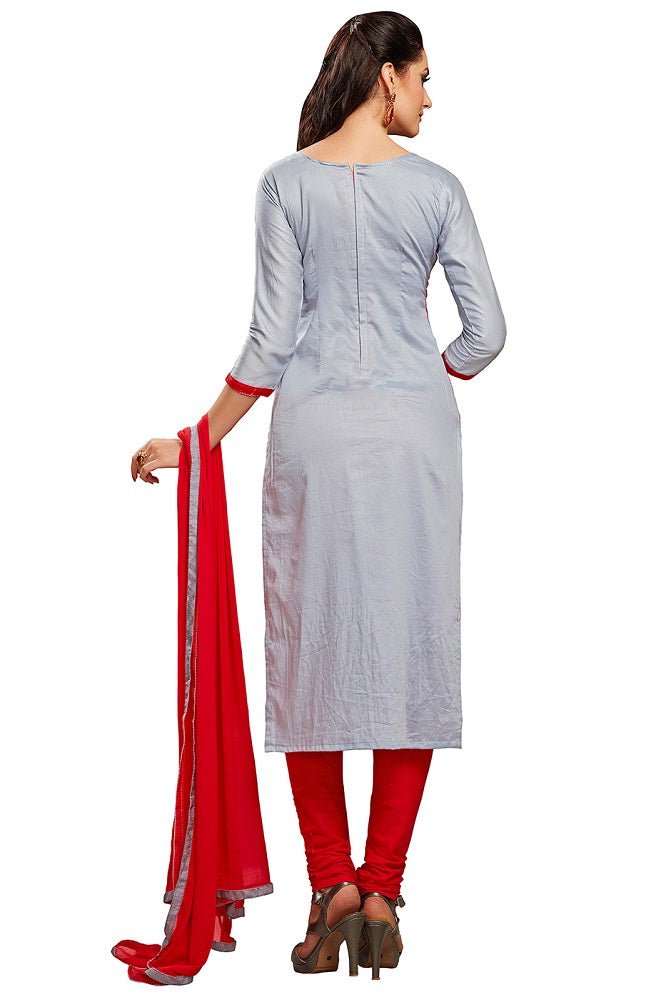 Grey & Red Glaze Cotton Embroidered Party Wear Dress Material