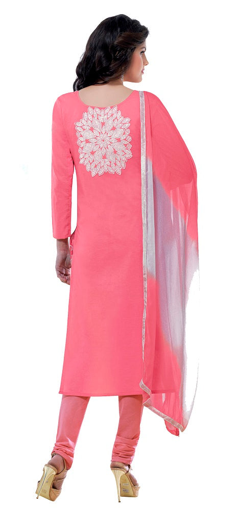 Light Pink Cotton Embroidered Party Wear Salwar Suit Material