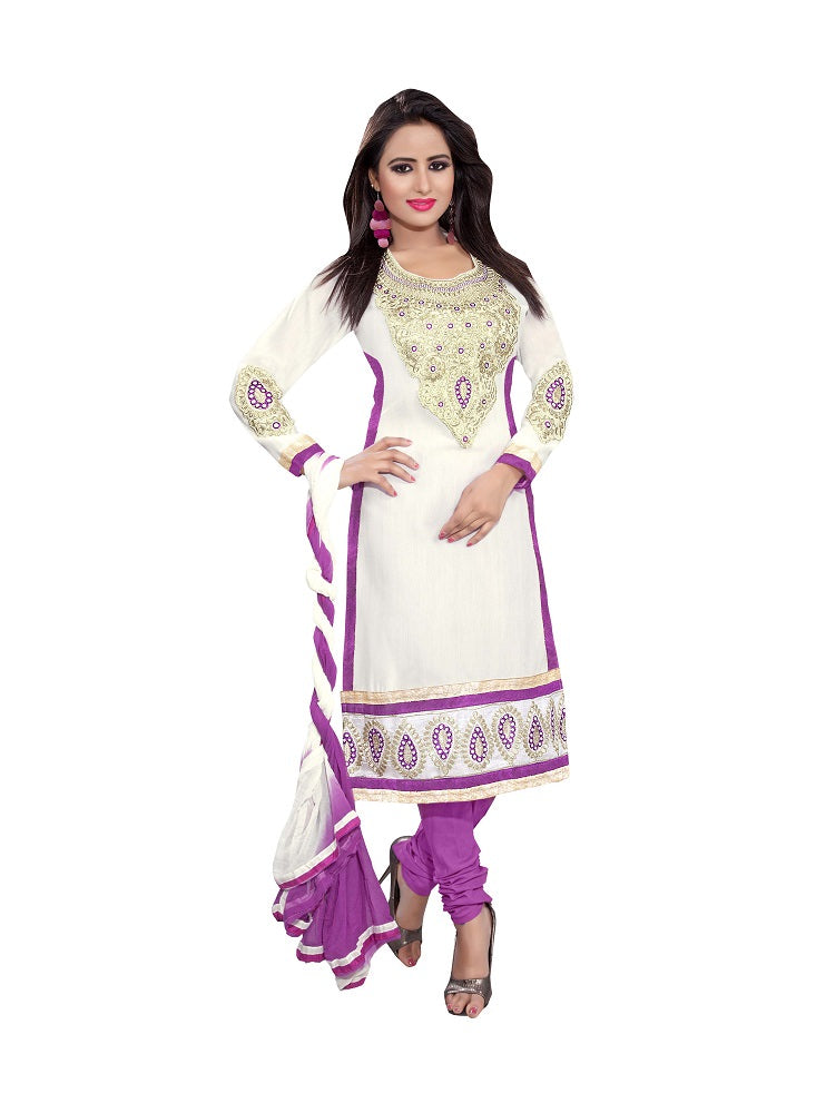 Cotton Embroidered, Self Design Dress/Top Material  (Un-stitched)