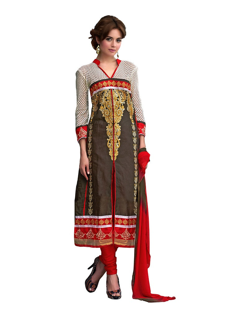 Women's Brown Cotton Embroidered Dress Material