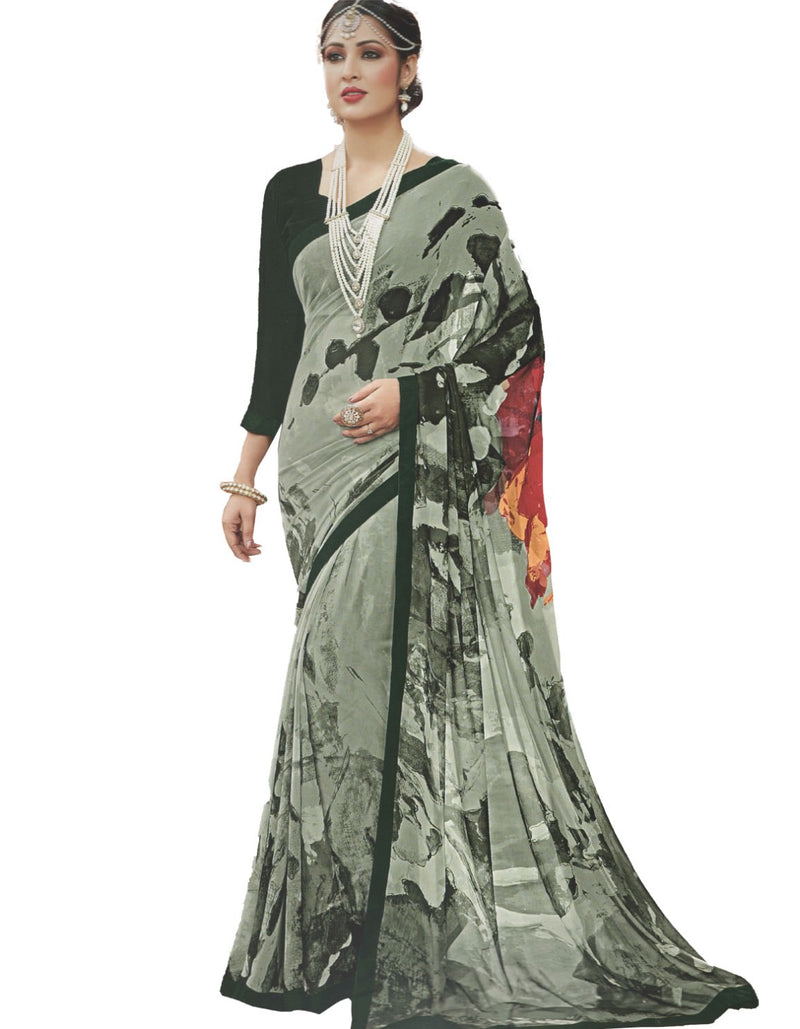 Georgette Digital Printed Saree With Blouse-Sea Green Color Saree