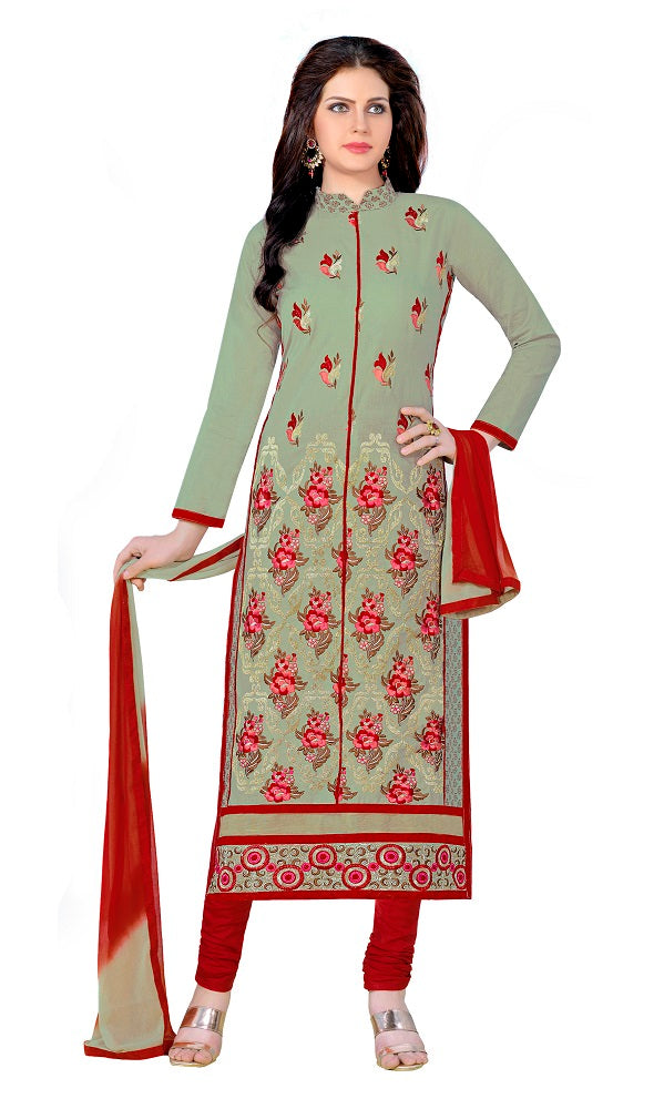 Light Olive Green Cotton Embroidered Party Wear Salwar Suit Material